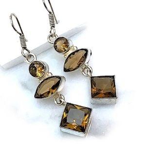 Sterling Silver & Sim Topaz Drop Earrings